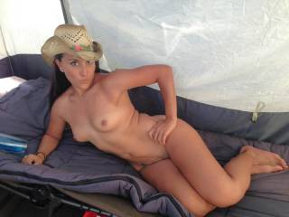 Got naked in a strangers tent for a quick pic.