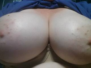 Hard fat dick slapping rubbing and fucking of those big titties and those gorgeous nipples then cum all over them and make you leave them for every one to see