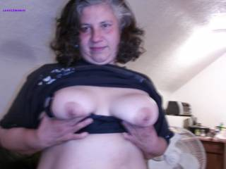 "Lynne is my 49yo married bbw horny granny neighbor Her hubby knows she cums over cause she wants me to use her like the old dirty slut she is Shes 5\'2"" 205# got big saggy 42Ds hard dark nips, a fat belly, a big wide ass and a wet sloppy hairy cunt. Enjoy!"