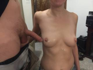 What happens when you suck a stranger\'s cock? He blows his load all over your tits.