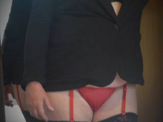 More photos in little red panties getting ready to go out.