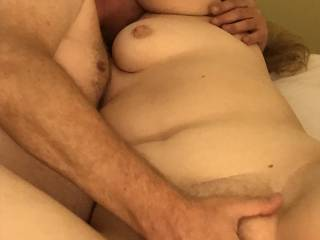 I was enjoying my friend playing with my pussy. His fingers had me so wet. We had a really good time.
