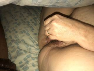 Wife warming her pussy up