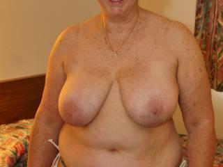 At the beach flaunting my big tits!