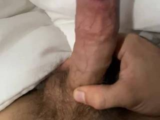 In my bed super horny someone massage my cock