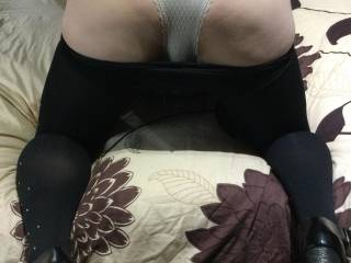 Pulled my slut wife's sparkles tights down to reveal her arse in her sheer knickers hope you like