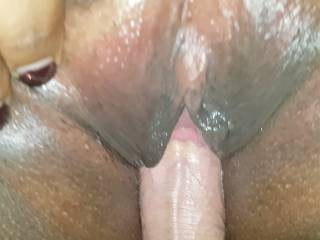 Like an Oreo cookie, but infinitely more beautiful... Huge load in being deposited into my pussy and then some of the cum showing between my pussy lips as he slips his cock back in again, enjoying the moment!