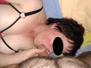 Sucking hubbies cock in my new open suit. Like my tits?