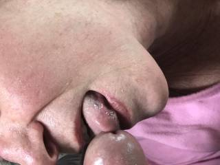 Feeling her tongue tease the tip of my cock is so erotic.