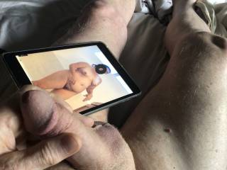 Love to stroke my cock as I look at my friend in the bath.