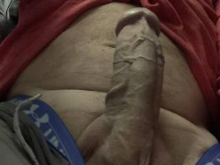 My hard throbbing cock!  Needed some attention!  The wife jerked and sucked me off after I showed her this pic!!