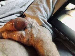 Orgasm, hot jism running off my hand.
