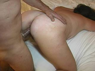 Filming the wife getting fucked doggy style on the bed in a hotel room