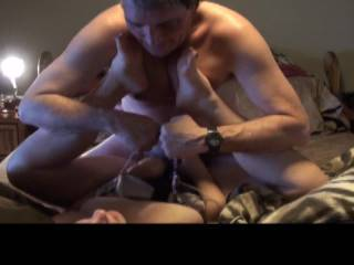 Looks like your hubby needs a little help, maybe I could pull the chains and he could concentrate on pounding away at that beautiful pussy.