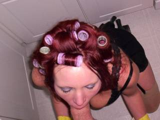 sexy even with her hair in rollers, damn lucky guy