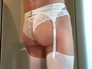 Excellent view. Your Lace panties and stockings look so good! I love your nice tight ass. Thanks for the view.