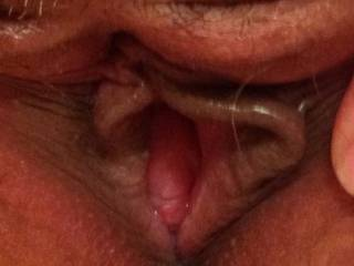 Spreading her little lips getting swollen up n ready to be fucked hard