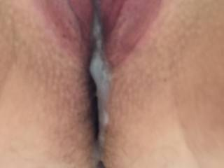 my new sub milf i meet this morning gave her a nice big load anyone want to clean it up or help me fill her pussy full? she was cumming non stop with my big cock she said she never cummed so much in her life ;) xx comment and like =) x