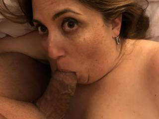 Do you like seeing his big fat cock in my mouth? I love pleasing my man