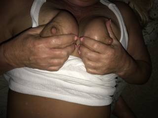 wife squeezing tits