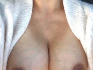 My wife met a guy online and he demanded she take a picture of her tits while she was out shopping.  She complied.  Dirty slut?