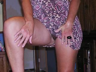 Flashing me her panties again.