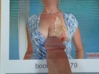 Mrs. boobflasher79's tit is covered with cum....