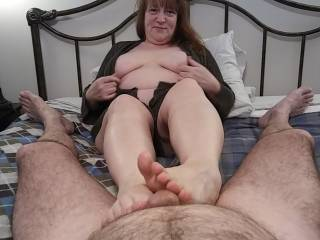 Hubby says the view is fantastic as I massage his cock. Watch my videos to see how great of a masseuse I am.