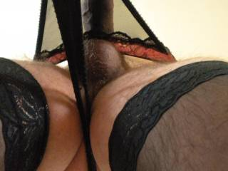 Wow.  What a great view.  Lovely cock and pretty lingerie too xxx