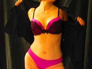 take your time I'm on my way to help, love the pink and black so sexy on your body,