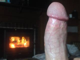 Just me by the fire tonight.  What goes well with a hot room and a rock hard one?