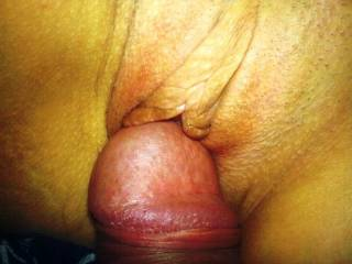 My husbands cock on my pussy. Please tribute both of us. I would love to see a huge load all over both of us.