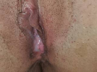 Cum dripping  out her fresh fucked pussy