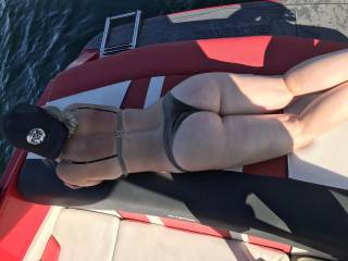 On the boat on a hot day wish I had a big cock to play with