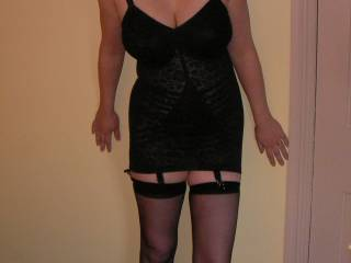 Mrs B posing in her new Rago corselette and stockings....no knickers! I think she is very tasty, don\'t you?