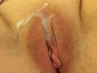 I loved Sara's sloppy cum filled pussy. It made my cock so slippery and slimy, covered with warm cum from the other men. She would have me eat the cum out of both holes while she used their cum to jack us both off.So I would cum in and on your sexy pussy and then clean you up