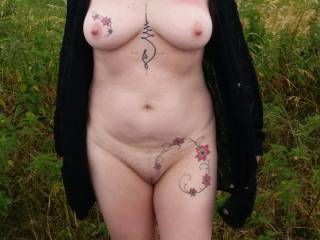 On Beachy Head Coast road...exposed at a car park. Nearly wearing her cardigan...LOL Plenty of passing traffic.