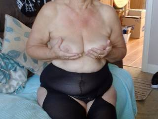 Lorraine, happily showing you her 72 y.o. tits