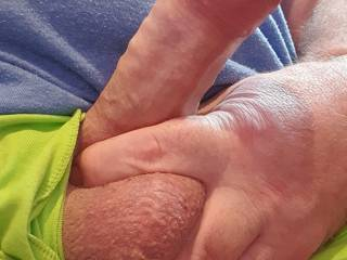 I love this picture, holding my cock and balls.