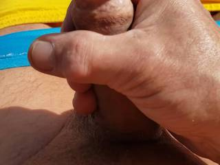 stroking my cock outside