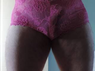 My new lacy, pink, boy short panties