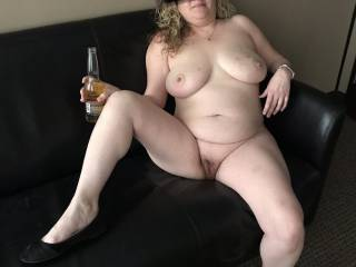 Kiki sitting on the couch in my office having a beer waiting for me to fuck the shit out of her. It was so exciting because we could both hear the people in the office adjacent to mine. I literally had to hold my hand over her mouth so no one could hear