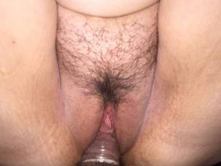 Fucking her with a condom on I LOVE pussy hair!!