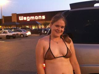 Local grocery store. Had 2 college guys following her