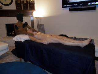 Massage a hot wife in home