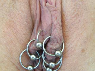 a close up of my pierced pussy