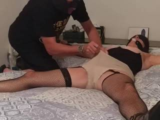 The wife getting her pussy iced. You can see she hates it but takes it like a good sub wife should!!!