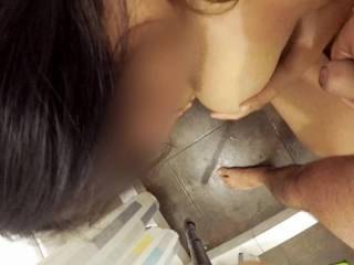 Coneja rimming Gallo at the shower, and sucking his dick, of course. End on her tits.