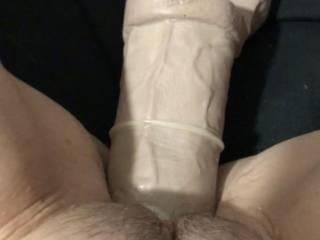 Big dildo stretching my slut pussy for hubby.