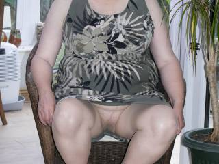 wife, seated upskirt hairy pussy in tan tights no knickers